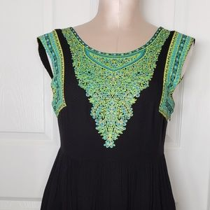 Free People Dresses - Free People Teal Yolk Boho Chic Mini Dress Sz M